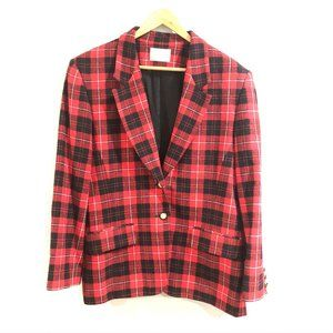 Pendleton | Red Tartan Plaid 2 Button Wool Blazer